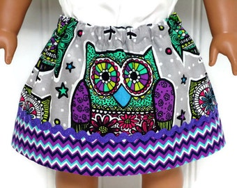 18 Inch Doll Clothes Skirt Mosaic Owls 15 Inch Doll Clothes