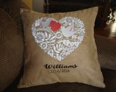 Personalized Wedding Heart Doves Swede Throw Pillow Cover 16 By 16 Size Wedding Gift Machine Embroidered