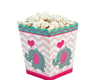 Baby Shower Favors Baby Shower 6 Favor Boxes Popcorn Boxes Elephant Favors Baby Elephant Gift Boxes Chevron Favors Candy Boxes Baby Birthday