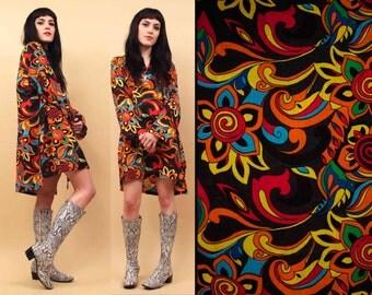 70s 90s Vtg Psychedelic Cotton GAUZE Mod Mini Dress Tunic / Hippie Boho Festival Swirl Op Art RAINBOW / One Size OSFM