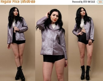 15% OFF 1DAY SALE 90s Vtg Metallic Lavender Pastel Genuine Leather Blazer Jacket / Minimal Button Up Club Kid Grunge / Xs - Sm