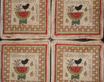 Primitive Whimsical Country SUMMER WATERMELON CROWS Fabric Coasters Mug Mats Scatter Mats Trivets