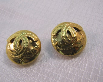 c1994 Chanel Paris Gold Plated Clip Earrings