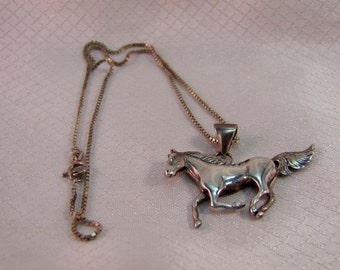 Southwestern, Navajo Inspired Sterling Mustang, Horse Pendant and Italian Sterling Box Chain ,Nn 5.