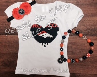 Ready to Ship- 3T Denver Broncos Toddler Girls Outfit