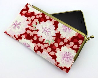 iPhone Frame Purse, Xperia Z5 Sleeve, Galaxy S5 Covers, Handmade Phone Case, Cherry Blossoms Red
