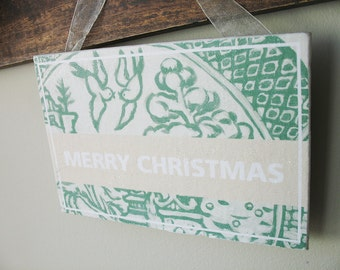 "Green Willow Sign ""MERRY CHRISTMAS"" 6""x4"""