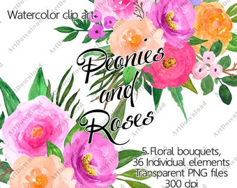 Flower Clipart  - Watercolour peonies and roses, Watercolor floral clip art,  Pink floral bouquet , Hand Painted, Digital Clipart flowers
