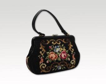 Vintage Black Leather Tapestry Handbag, Mad Men Bag, Purse 1960's, Needlepoint Bag