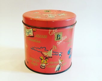 Vintage Coral Loft Candies Mid-Century Tin with Silhouttes and Doves - Cylindrical Coral Vintage Storage Tin