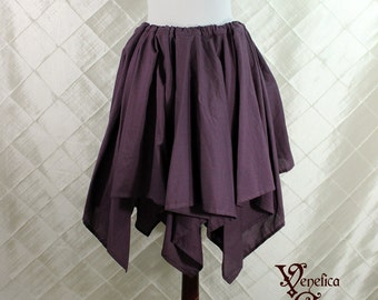 """Renaissance Fairy Plum Cotton Pointed Pixie Petal Skirt -- 8 Points, 24"""" Point Length -- Fits up to 45"""" Waist, Ready to Ship!"""