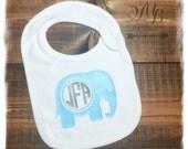 Monogram Elephant Bib, Baby Shower Gift, Personalized Bib, Baby Boy Gift, Baby Girl Gift