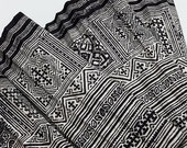 Thai Hand printed Fabric Natural Cotton Fabric by the yard Hmong Fabric Hill Tribe Fabric Vintage Fabric Batik Fabric Black White HF1
