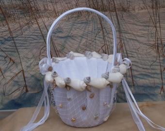 Seashell/Beach/ Wedding Flower Girl Basket