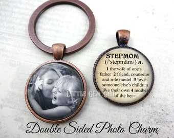 Custom Photo Stepmom Key Chain - Personalized Double Sided Stepmom Jewelry Dictionary Definition Charm - Mothers Day Gift for Stepmother