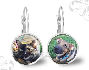 Picture Earrings - Photo Dangle Earrings - Custom Photo Jewelry - Drop Earrings  - Pet Photo Jewelry - Mother's Day Earrings Picture Jewelry