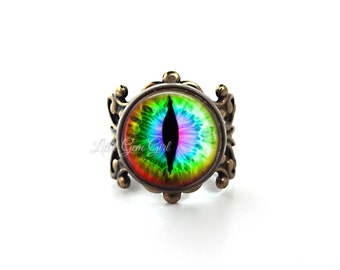 Rainbow Eye Ring - Gothic Cat Eye Jewelry - Vintage Brass or Silver Filigree Adjustable Ring - Dragon Eye Jewelry Evil Eye Jewelry - (E3)