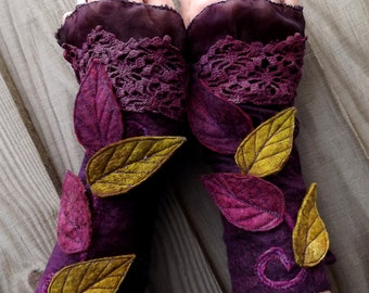 Faerie Cuffs-woodland- Folkowl Cuffs - leaf cuffs -  Forest Cuffs - Faerie Cuffs - Vintage lace glove - purple gloves
