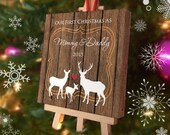 Our First Christmas as Mommy and Daddy Ornament - Personalized Ornament Mini Canvas with Easel - Deer Ornament - New Parent Custom Gift