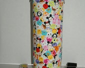 """Insulated Water Bottle Holder for 40oz Hydro Flask / Thermos with Interchangeble Handle/Strap Made with """"Tsum Tsum - Colorful #3"""" Fabric"""