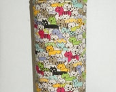 "Insulated Water Bottle Holder for 32oz Hydro Flask / Thermos with Interchangeble Handle/Strap Made with Cotton Linen ""Cats Cats Cats"""