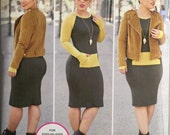 Simplicity 8174, Size 6-8-10-12-14, Misses' Lined Jacket and Knit Dress Pattern, UNCUT,Mimi G Style, Designer Pattern, Casual Style
