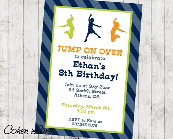 Printable Trampoline Park Party Invite Jumping Invite Sky Zone