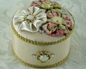 Round Fabric Covered Trinket Box