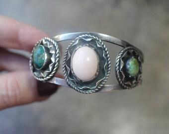 1960's Southwest Bracelet / Vintage Women's Cuff / Sterling Multi Stone Jewelry / Angel Skin Coral