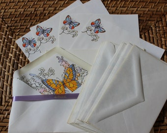 Vintage Hallmark Butterfly Stationary In Original Box
