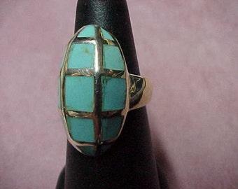"Vintage Turquoise Blue Color Enamel Ring, 7/8""x3/8"", Sterling Silver 7.4 Gram, Size 6-1/4"