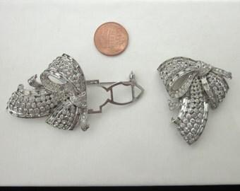 CORO DUETTE Dress Clip BROOCH Pin Set Rhinestone Art Deco Jewelry Lovely