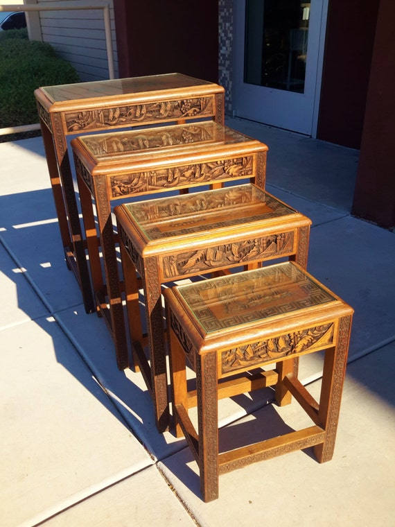 Vintage chinese nesting tables hand carved wood ships greek