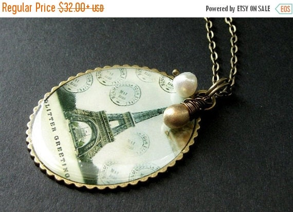 BACK to SCHOOL SALE Eiffel Tower Necklace with Gold Teardrop and Fresh Water Pearl. Paris France Postcard Necklace. Handmade Jewelry.