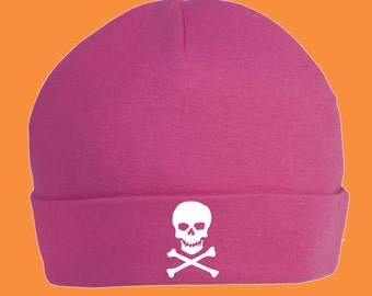 Pink Skull and Crossbones Baby Hat