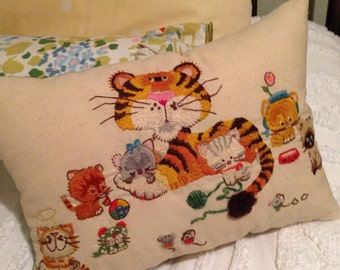 Decorative crewel embroidered pillow vintage tiger design with green backing