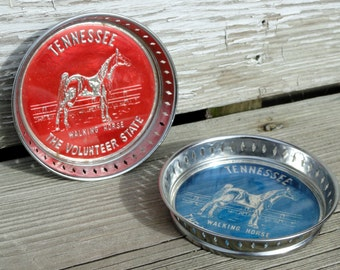 Vintage Tennessee Coasters - Blue and Red Chrome with Glass Inserts - The Volunteer State - Tennessee Walker Horse