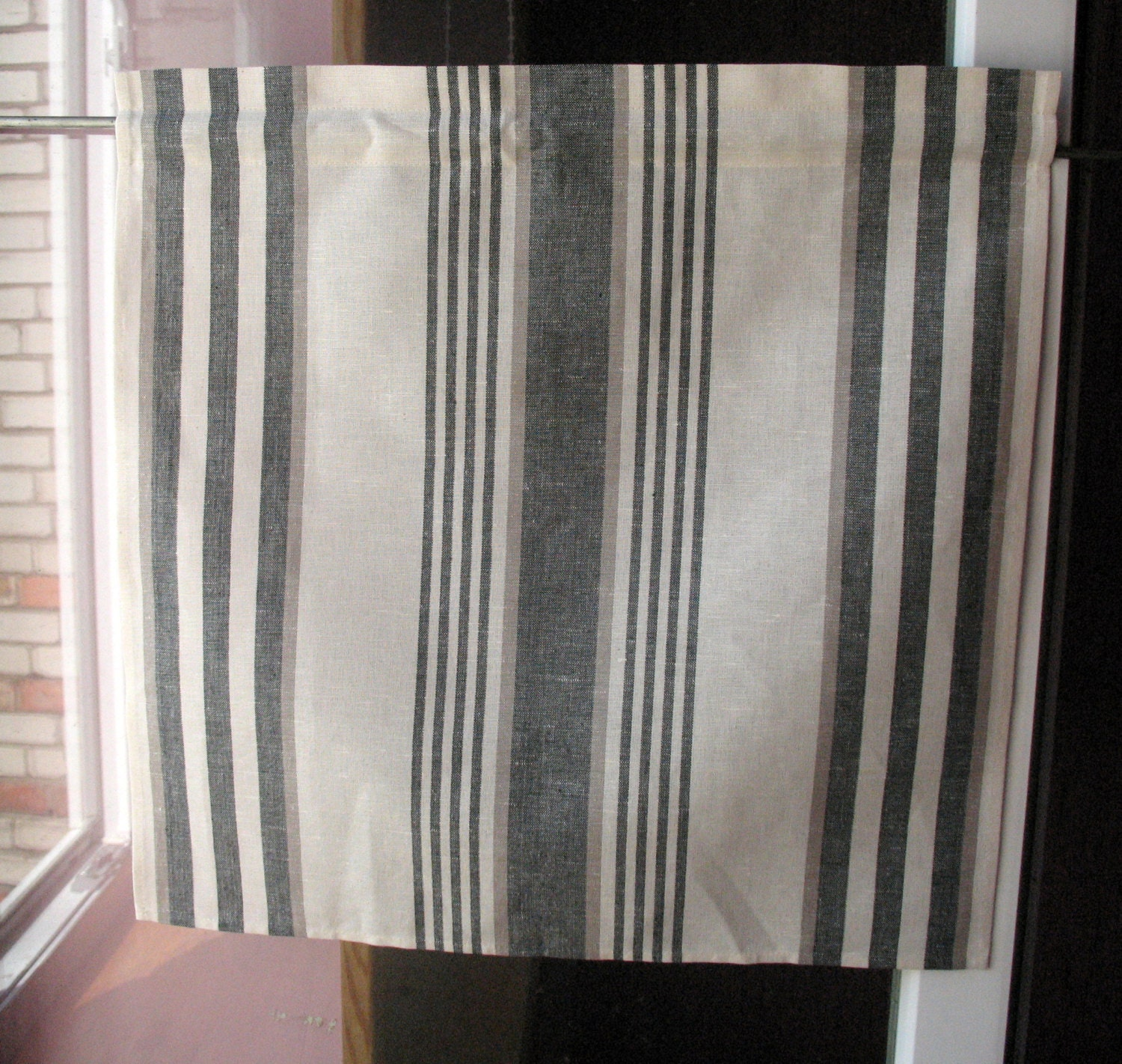 Gray Curtains Cafe Curtains White Black Striped Washed Linen