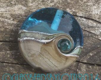 Lampwork glass lentil focal bead, 'Sunny days on on a sandy beach'. SRA