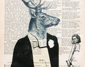 DEER GENT party deer art print poster old book dictionary art vintage page party gift illustration wall decor