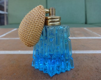 Vintage perfume bottle aqua blue atomizer art deco Vanity decorative glass