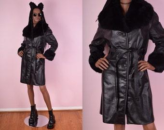 70s Black Leather Fur Trim Coat/ Medium/ 1970s/ Vintage/ Jacket
