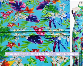 Stretchy Silk Satin Fabric , hawaii leaves design gown fabric