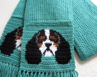 Cavalier King Charles Spaniel. Sea foam knit scarf with tricolor cavalier spaniel dogs.  Aqua knitted dog scarf.