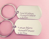 Name Date Always Forever Dogtag Keychains, Anniversary Gift, Dog Tags, Military Couple Gift, Boyfriend, LDR Gift, Long Distance Relationship