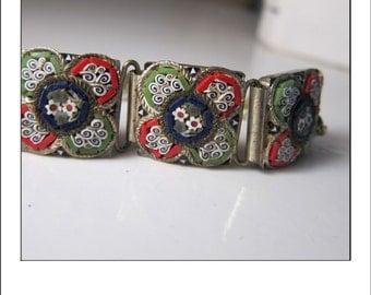 Vintage Intricate Micro Mosiac Silver Bracelet