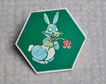 "Vintage Soviet Russian aluminum cartoon badge,pin.""Bunny"""