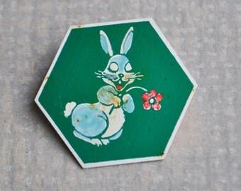 "Vintage Soviet Russian aluminum cartoon badge,pin.""Bunny"""