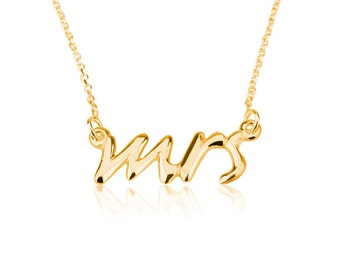 """Mrs. Necklace """"Say Yes"""" Necklace Mrs. Pendant- 925 Sterling Silver Plated in 18k Gold"""