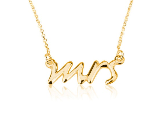 "Mrs. Necklace ""Say Yes"" Necklace Mrs. Pendant- 925 Sterling Silver Plated in 18k Gold"